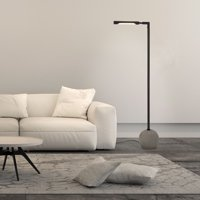Dinodas Industrial Floor Lamp in Concrete and Blackened Bronze with Adjustable Mobile Arm