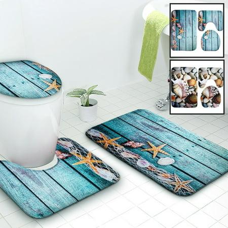 3 Piece Bath Rugs Ocean Theme Soft Non Slip Bathroom Set