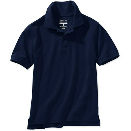 George Boys School Uniforms Husky Size Short Sleeve Polo Shirt with Scotchgard Stain Resistant Treatment
