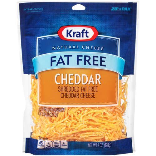 Kraft Shredded Fat Free Cheddar Cheese, 7 oz