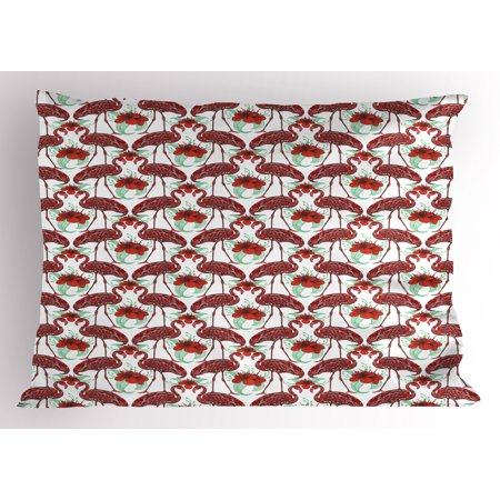 Flamingo Pillow Sham Artistic Bird Figures with Floral Abstract Ornaments Hand Drawn Lilies, Decorative Standard Size Printed Pillowcase, 26 X 20 Inches, Red Coral Sea Green, by