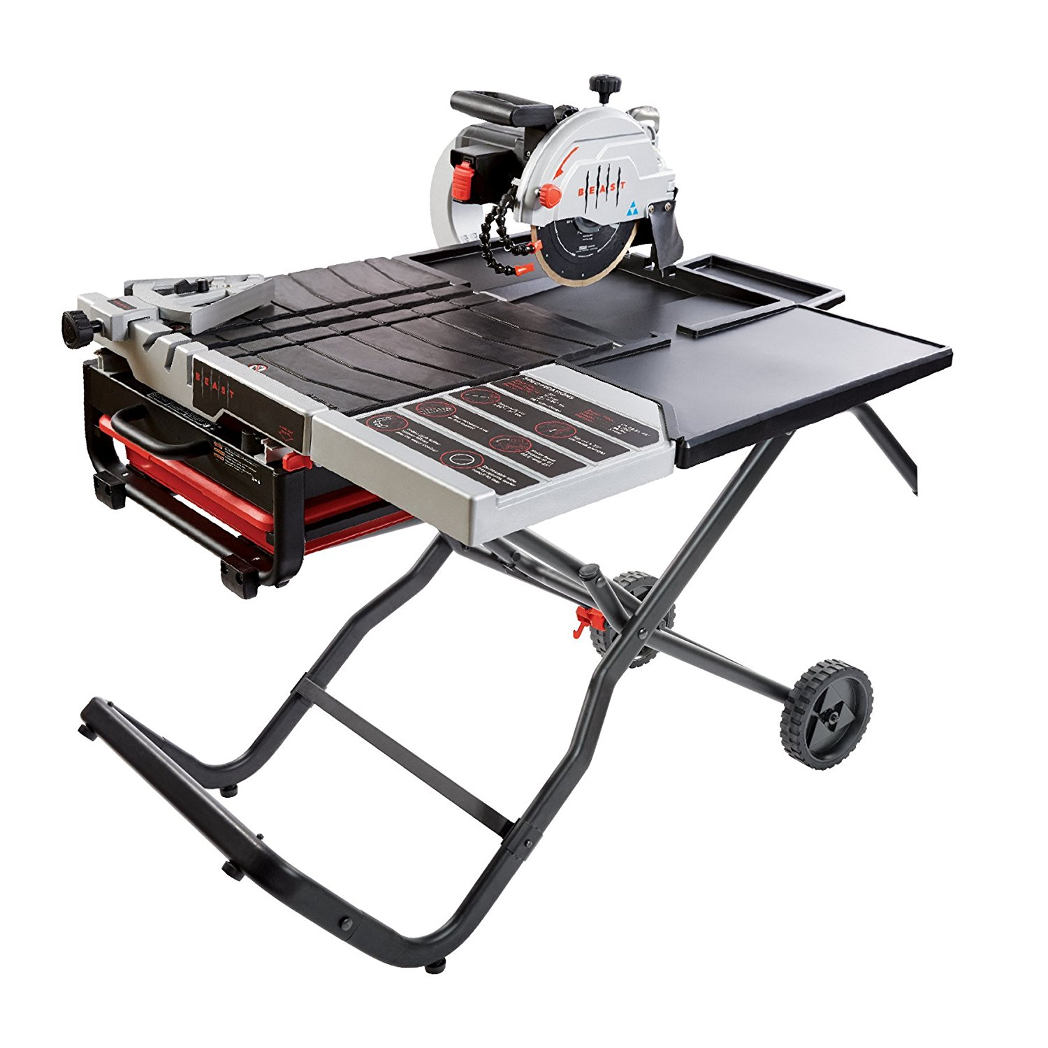 "Lackmond Beast Wet Tile Saw - 10"" Portable Jobsite Cutting Tool with Gravity Folding Stand & Accessories - BEAST10PKIT"