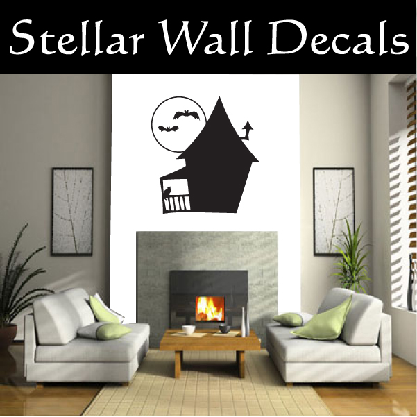 Halloween Haunted House No Windows Holiday Vinyl Wall Decal Mural Quotes  Words ARTH4D1 36 Inches