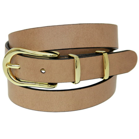 - Skinny 1 Inch Tan Belt Buffalo Leather Gold Buckle Set Made In USA