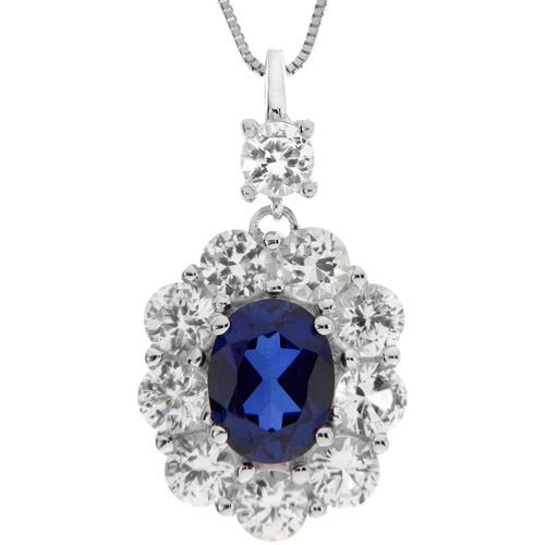 """5.93 Carat T.G.W Lab-Created Ceylon Sapphire and Lab-Created White Sapphire Pendant in Sterling Silver, 18"""""""