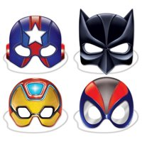 Card Stock Oversize Party Masks - Deluxe Hero Masks - 4 per pack