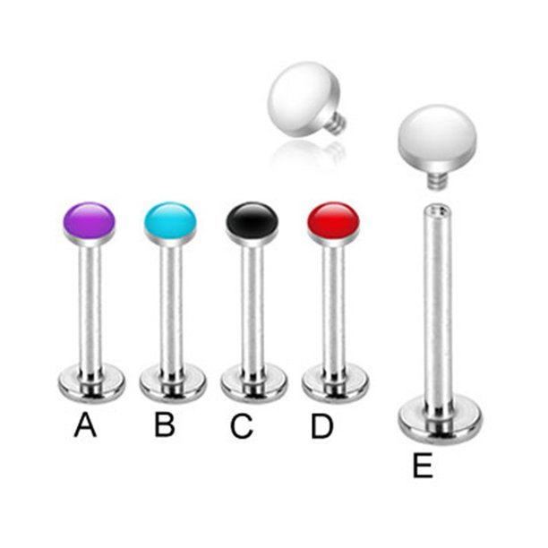 "Internally Threaded Labret Stud With White Enameled Dome Top, 16 Ga,3/8"" (10Mm) Long,Black  - C"