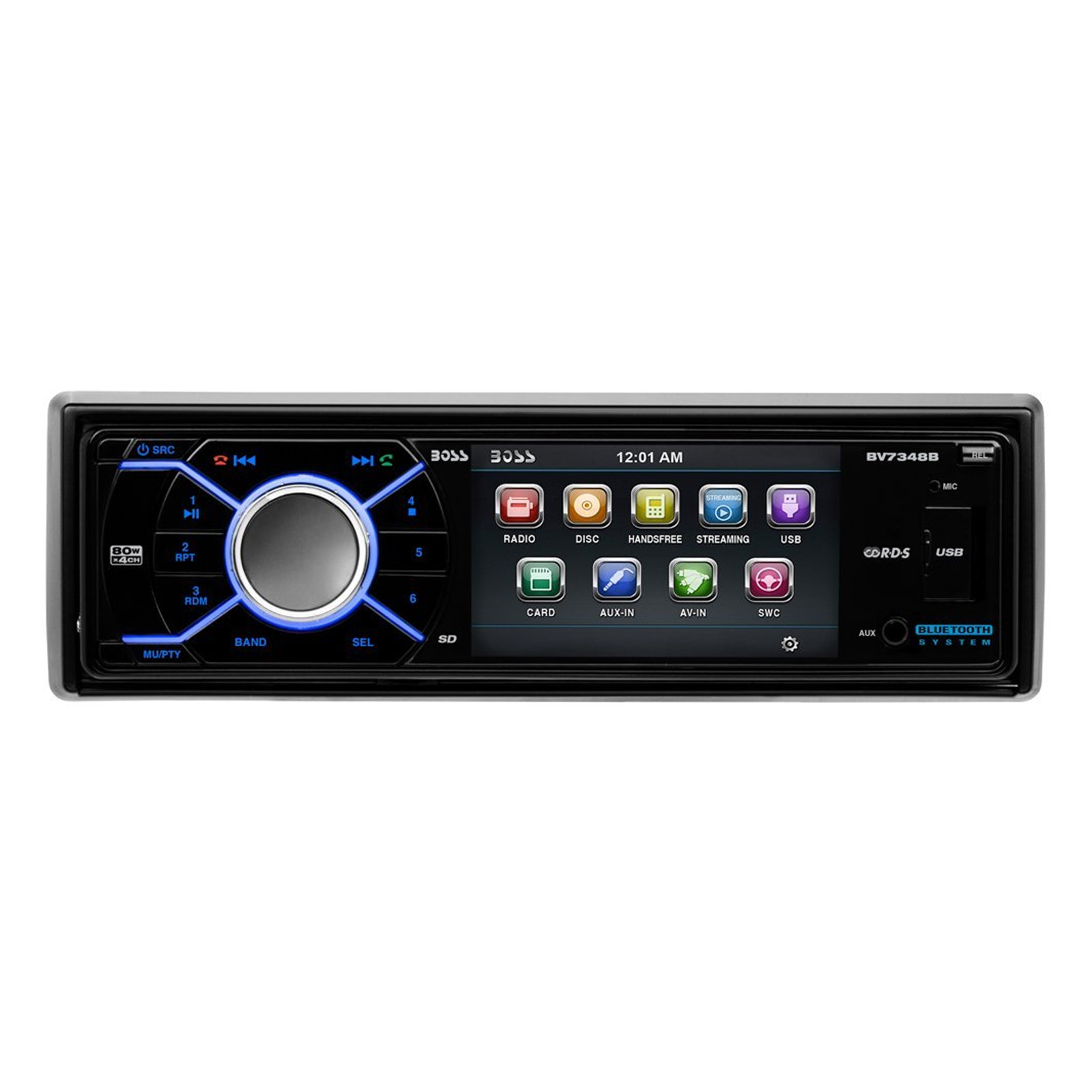 Boss Audio BV7348B Single-DIN 3.2 inch Screen DVD Player Receiver, Bluetooth, Detachable Front Panel, Wireless Remote