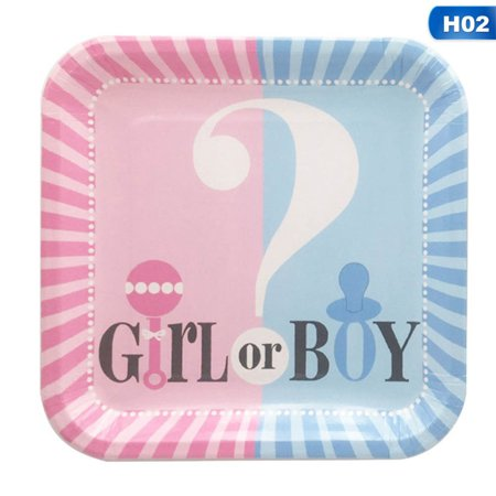 TURNTABLE LAB Girls or Boys Baby Shower Gender Reveal Party Supply Tableware Decor (Pretty Tableware)