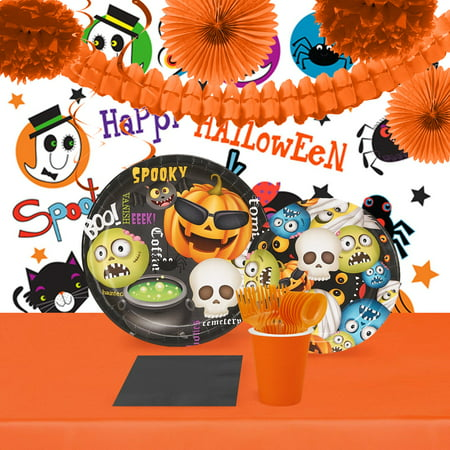 Halloween Party Emoji 16 Guest Tableware and Room Decor Kit (Halloween Party 18 And Over)