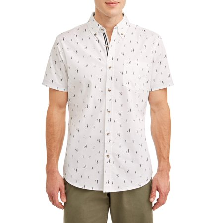 Lee Men's Short Sleeve Stretch Button Down Shirt with All-Over Ditsy Prints, Available up to size 2XL