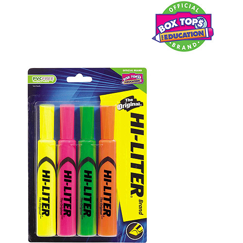 Avery Desk Style Hi-Liter, Assorted Colors, 4 pack