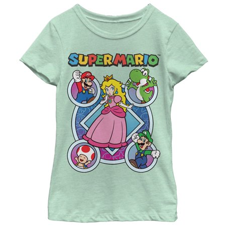 Nintendo Girls' Super Mario Princess Peach Friends T-Shirt (Girl Soper)