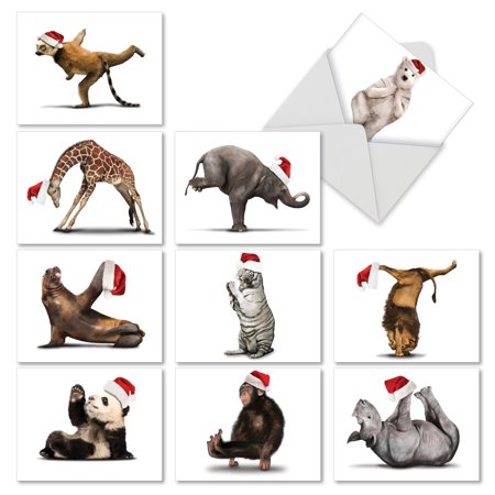 M6547XTG YULETIDE ZOO YOGA' 10 Assorted Christmas Thank You Notecards Featuring Fun and Flexible Zoo Animals Practicing Yoga Poses While Wearing Christmas Hats, with Envelopes by The Best Card