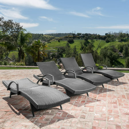 Salem Outdoor Grey Wicker Arm Chaise Lounge Set ()
