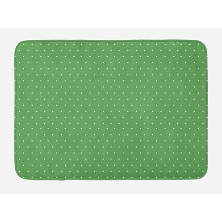 Green Bath Mat, 50s 60s Style Retro Vintage Inspired Simple Design with Little Polka Dots Image, Non-Slip Plush Mat Bathroom Kitchen Laundry Room Decor, 29.5 X 17.5 Inches, Green and White, Ambesonne