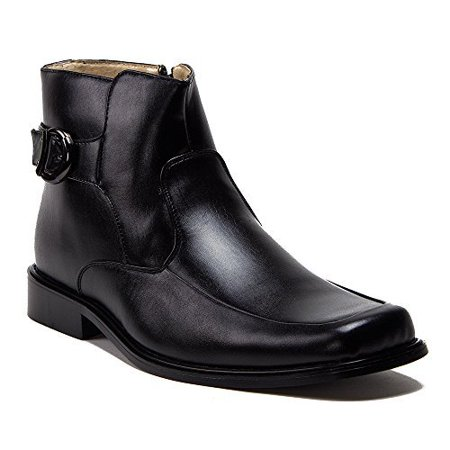 New Men's 38306 Leather Lined Ankle High Square Toe Buckle Accent Dress Boots, Black, 11 Black Box Leather Footwear