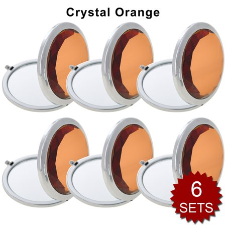 - GOGO 6 Sets/Pack Makeup Pocket Compact Mirror With Gift Box, Best Wedding Bridesmaid Gifts-Crystal Orange 6SETS