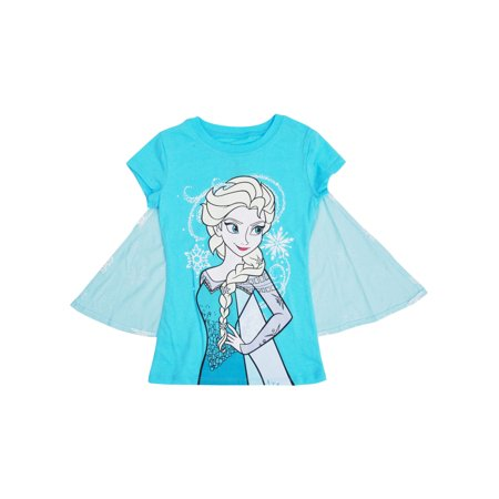 Girls Disney Frozen Elsa Halloween Costume T-Shirt w/ Cape