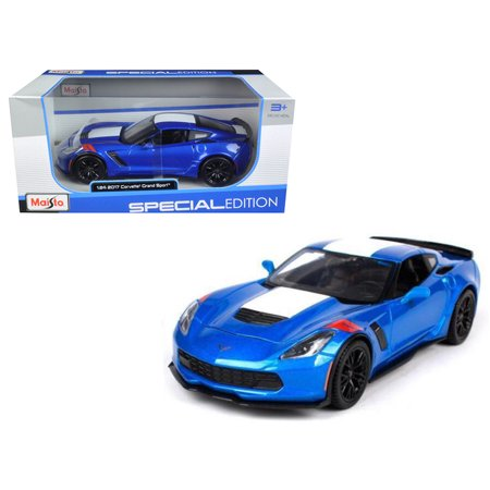 2017 Chevrolet Corvette Grand Sport Blue 1/24 Diecast Model Car by Maisto Blue Two Tone Corvette