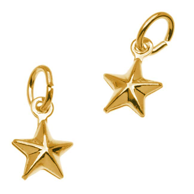 22K Gold Plated Small Puff Nautical Star Charm - 9x6.5mm (6)