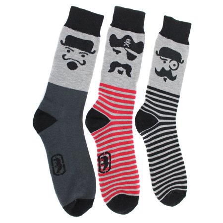 Ecko Unltd Men's Mustache Faces Crew Socks (3 Pr), Size 10-13