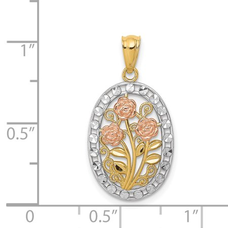 14K Tri Color Gold Y/R Gold Rhodium Polished & Textured Oval 3 Rose Pendant - image 1 de 2