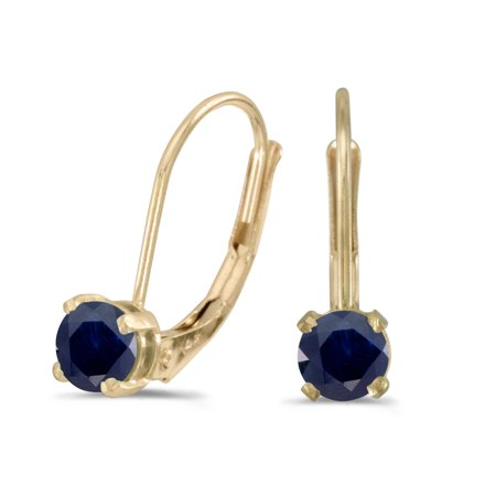 Round Sapphire Earrings Set - 14k Yellow Gold Round Sapphire Lever-back Earrings