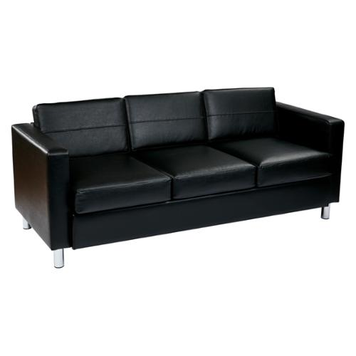 Office Star Products Pacific EasyCare Faux Leather Sofa Couch W/ Spring  Seats And Silver Color
