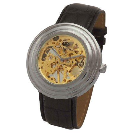 Mens Skeleton Mechanical Watch Wind Up Silver Tone Case Black Leather Band Reloj de