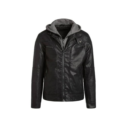 Genuine Leather Racing Jacket (Alta MILJ120 Men's Faux Leather Moto Jacket - Black )