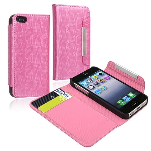 Insten Wallet Leather Case with Card Holder For Apple iPhone 5 / 5s, Light Pink