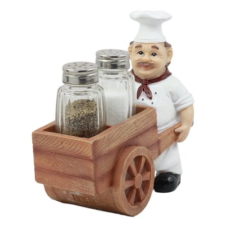 Ebros Spice A La Carte Delivery Master Iron Chef Pushing Wheelbarrow Cart Salt And Pepper Shakers Holder Figurine Statue