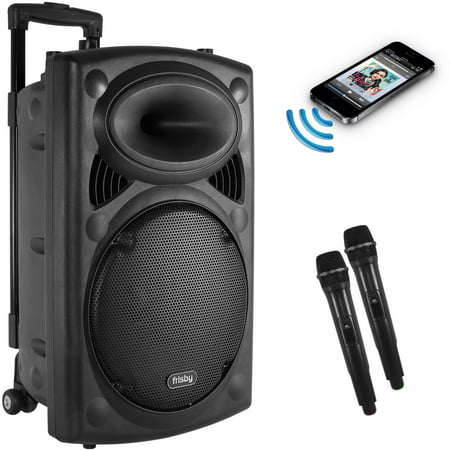 Frisby FS-4050P Portable Rechargeable Bluetooth Karaoke Machine PA Speaker System w/ Telescoping Handle & Wheels w/ 2 Wireless Microphones, FM Radio, USB SD Slots for Parties & Events Party Portable Bluetooth