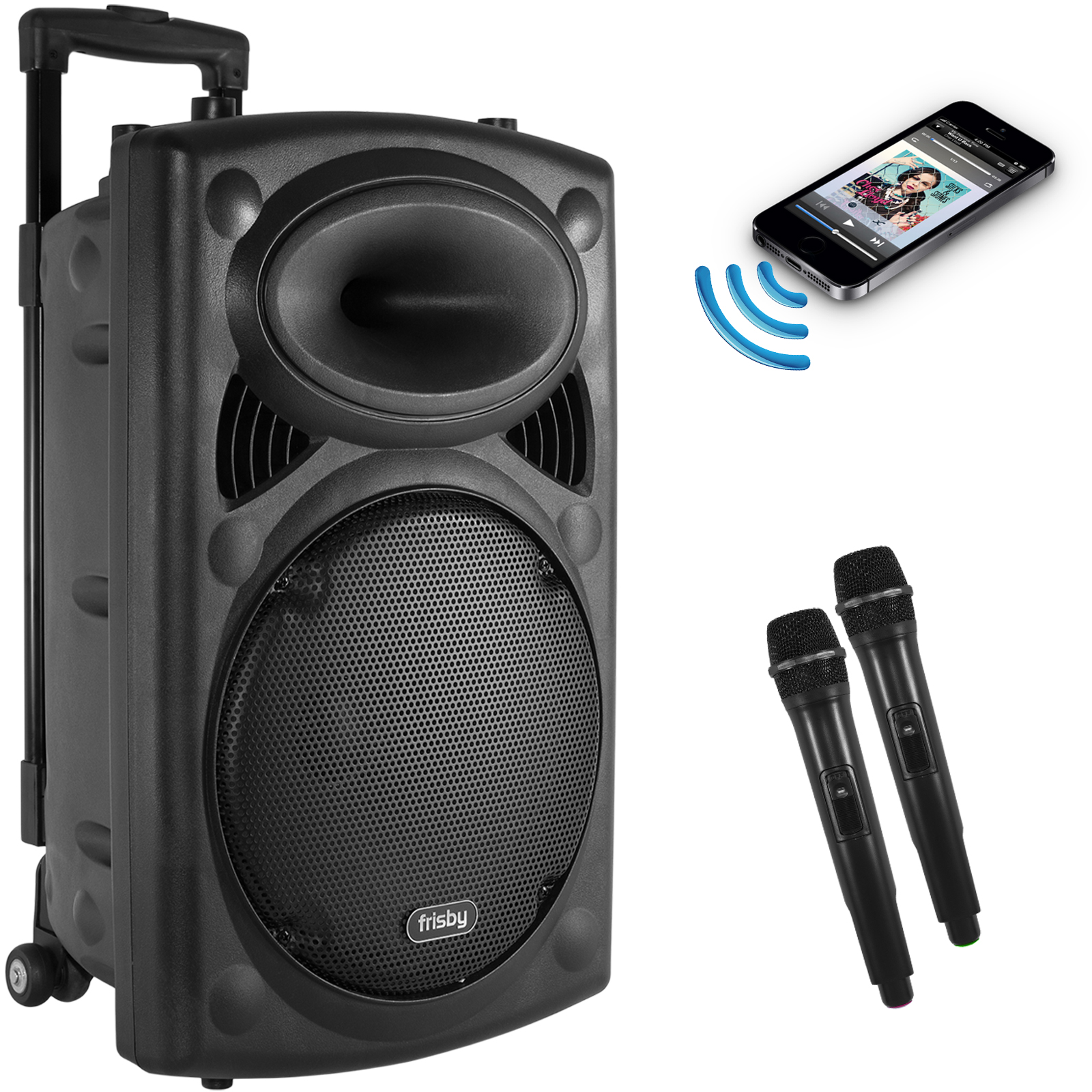 Frisby FS-4050P Portable Rechargeable Bluetooth Karaoke Machine PA Speaker System w/ Telescoping Handle & Wheels w/ 2 Wireless Microphones, FM Radio, USB SD Slots for Parties & Events