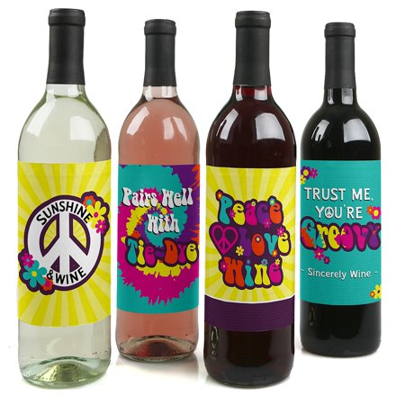 60's Hippie - 1960s Groovy Party Decorations for Women and Men - Wine Bottle Label Stickers - Set of 4 (60s Decorations)
