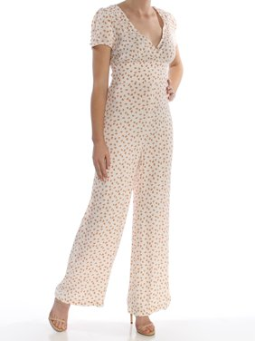 FREE PEOPLE Womens White Printed Oranges Short Sleeve V Neck Flare Jumpsuit  Size: 6