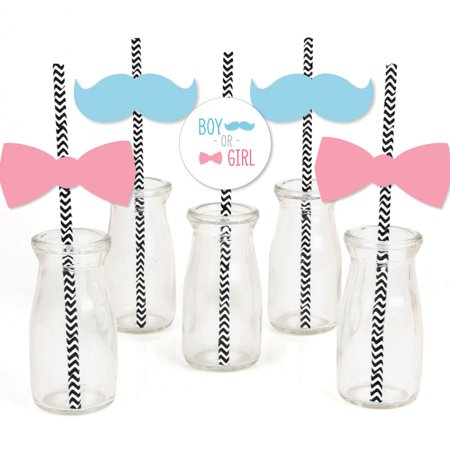 Baby Gender Reveal - Paper Straw Decor - Baby Shower  Striped Decorative Straws - Set of 24 - Revealing Baby Gender