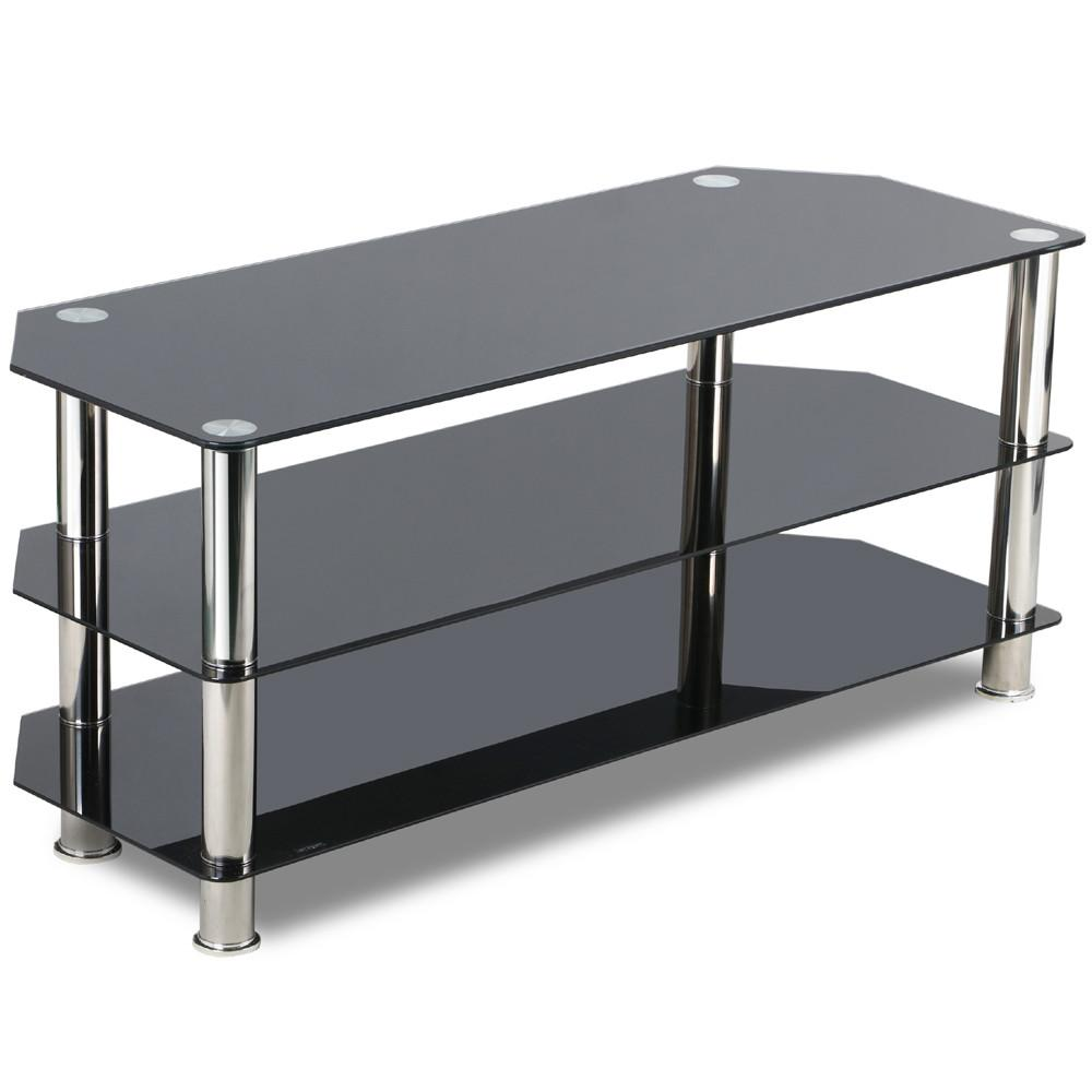 Topeakmart 3 Shelf Tv Stand Tempered Glass For Tvs Up To 60 Black