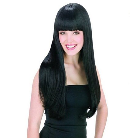 AGPtek New style black Fashion Long straight women's Girl full Hair Wig cosplay](Cheap Black Wigs)