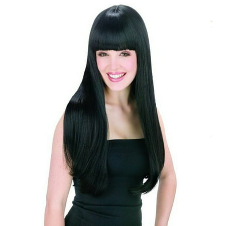 AGPtek New style black Fashion Long straight women's Girl full Hair Wig cosplay (Short Black Wig With Bangs)
