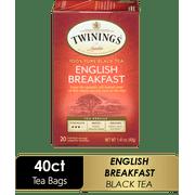 (2 Pack) Twinings of London English Breakfast Tea Bags, 20 Ct, 1.41 oz. Box