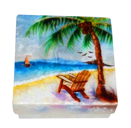 Kubla Crafts Capiz Oyster Shell Beach Scene Trinket Jewelry Gift Change Box