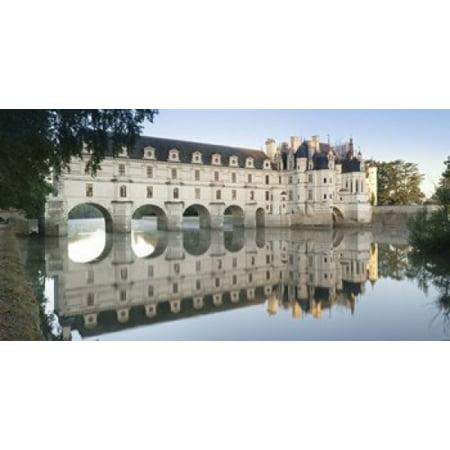 Reflection of a castle in a river Chateau De Chenonceau Indre-Et-Loire Loire Valley Loire River Region Centre France Poster (Valley River Center)