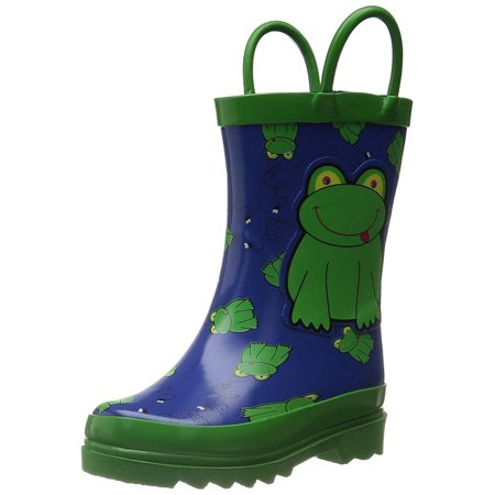 Non Puddle Light - Puddle Play Kids Boys' Green Frog Character Printed Waterproof Easy-On Rubber Rain Boots (Toddler/Little Kids)