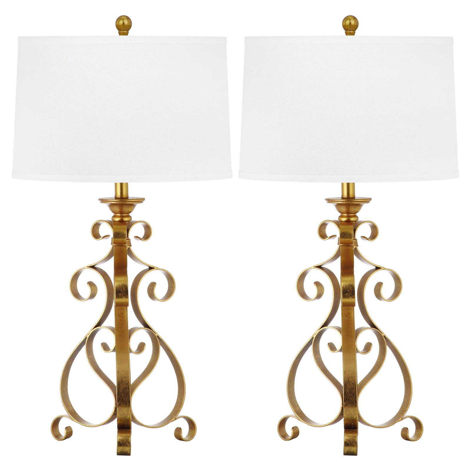 Safavieh Scroll Sculpture Table Lamp with CFL Bulb, Antique Gold with Off-White Shade, Set of 2