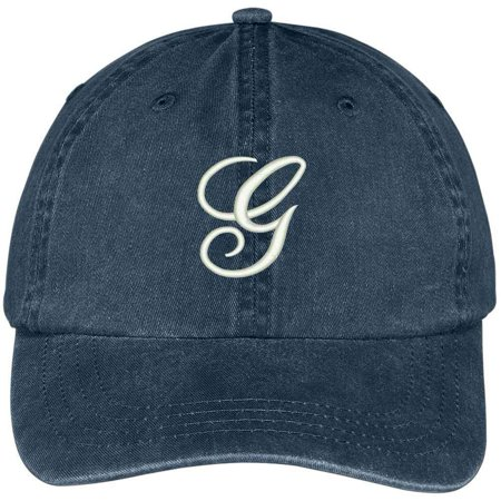 Trendy Apparel Shop Letter G Script Monogram Font Embroidered Washed Cotton Cap - Monogram Script Font