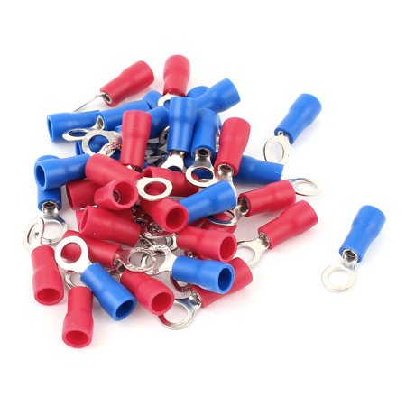 Unique Bargains 40 Pcs 1.25-4S 22-16AWG Wire Connector Ring Crimp Terminal Red Blue (Red Terminal Feed Through Connectors)
