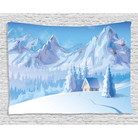 Winter Decorations Tapestry, Little House below Majestic Mountains in Winter Ice Blizzard Frozen Back Decor, Wall Hanging for Bedroom Living Room Dorm Decor, 60W X 40L Inches, Blue, by Ambesonne (Frozen Decor)
