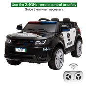 Kids Ride on Car, 12V Battery Powered Electric Police Truck SUV Vehicle w/ 2.4G Remote Control, Siren, Music, LED Headlights, Microphone, Double Open Doors, Safe Seat Belts - (Black)